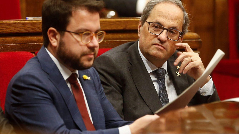 Foto: El presidente de la Generalitat, Quim Torra, junto a su vicepresidente, Pere Aragonés (EFE)