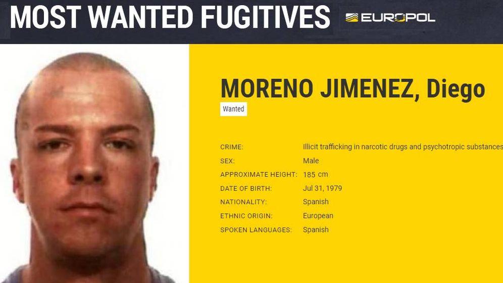 Foto: Ficha de fugitivo de Diego Moreno Jiménez. (Europol)