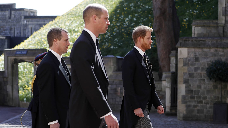 Guillermo y Harry, en el funeral del duque de Edimburgo. (Getty)