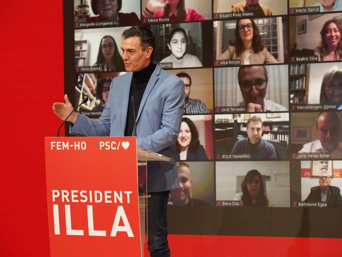Foto: El presidente del Gobierno, Pedro Sánchez, durante la apertura de la campaña para el 14-F. (EFE)