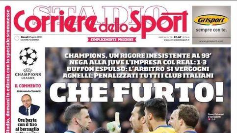 De robo del siglo a máster en arbitraje: el penalti, en las portadas italianas y españolas