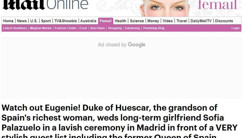 Portada del 'Daily Mail' sobre la boda de Palazuelo y Fitz-James.