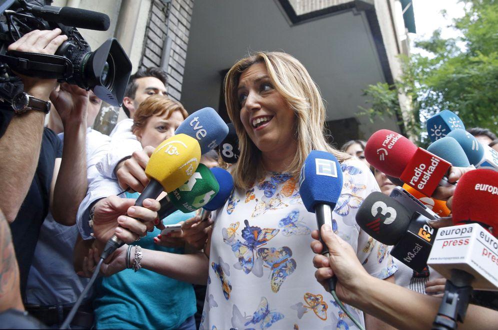 Foto: Susana Díaz, a su llegada a la sede del PSOE en Ferraz, para su reunión con Pedro Sánchez, este 8 de julio. (EFE)