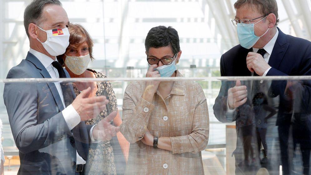 Foto: La ministra de Exteriores, con Ximo Puig y el ministro de Exteriores de Alemania, Heiko Maas. (EFE)