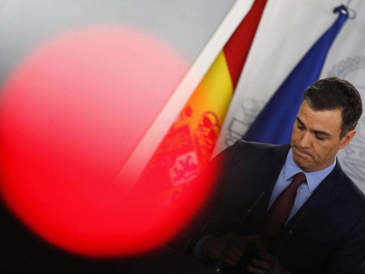 Foto: Pedro Sánchez, este 10 de marzo, durante su rueda de prensa ante los medios en la Moncloa. (EFE)