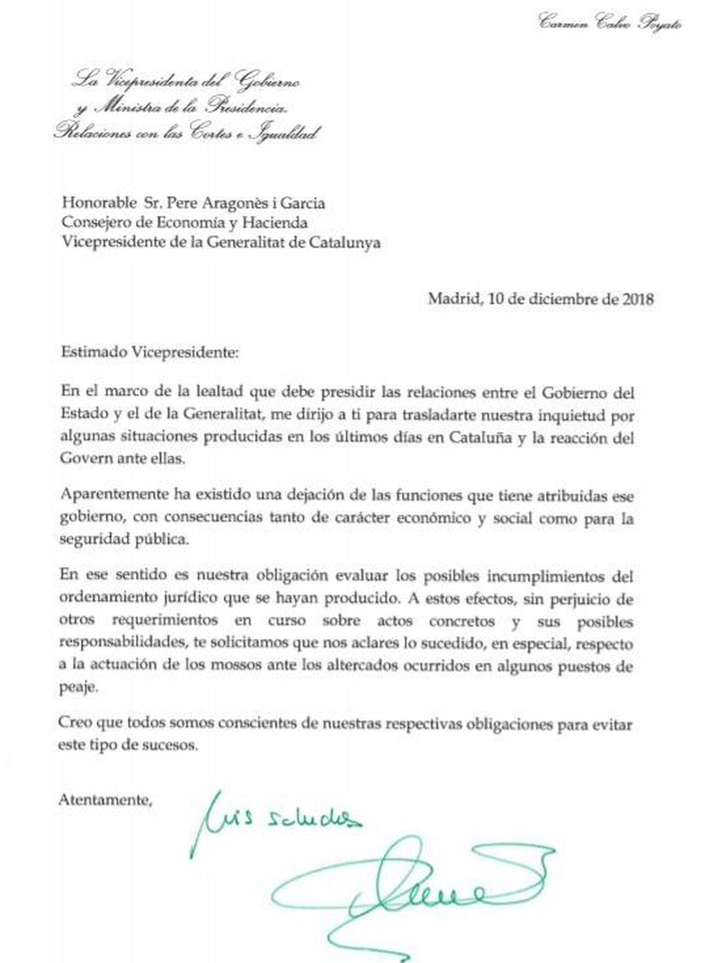 Consulte aquí en PDF las cartas de Carmen Calvo, Fernando Grande-Marlaska y José Luis Ábalos a sus homólogos del Govern. (EC)