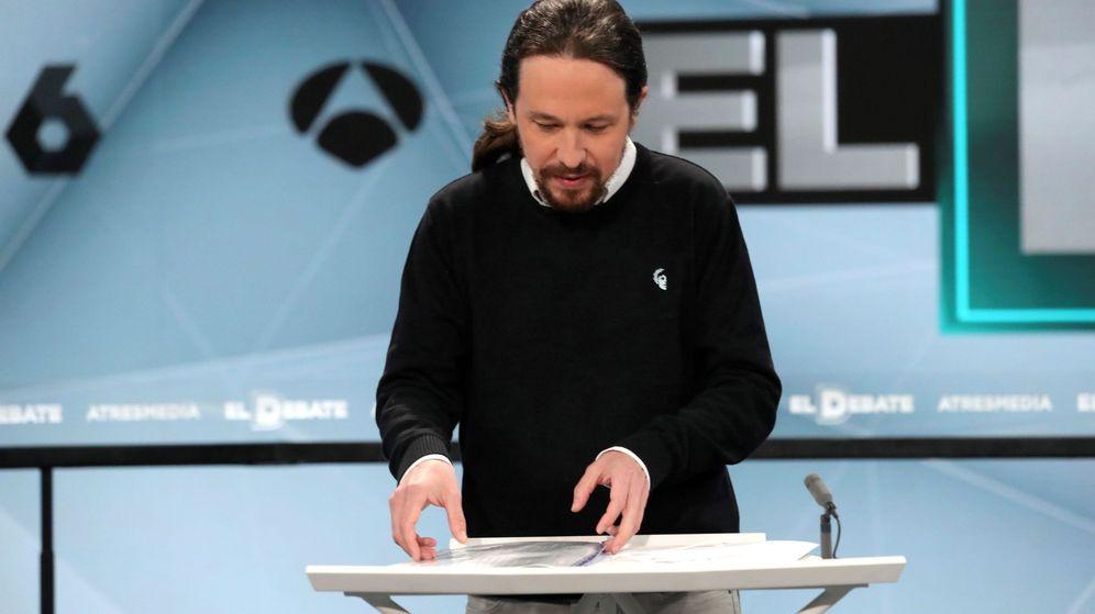 Foto: Pablo Iglesias en el debate electoral a cuatro en Atresmedia (Efe)