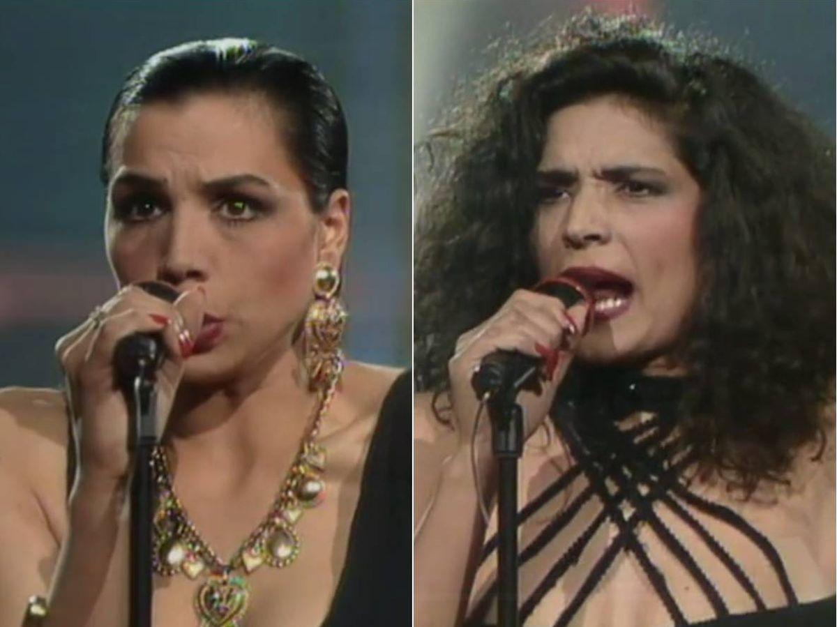 Foto: Las hermanas Toñi y Encarna Salazar durante su actuación en el festival de Eurovisión en 1990