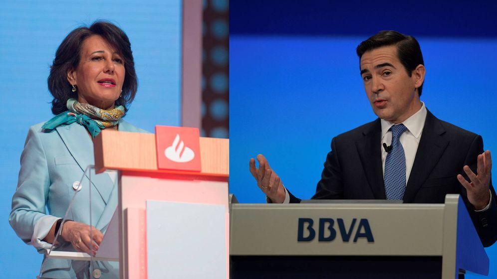 Foto: Ana Botín y Carlos Torres, presidentes de Banco Santander y BBVA. (EFE)