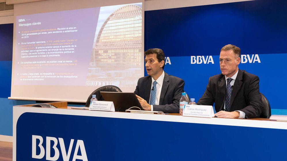 Foto: Rafael Doménech (BBVA Research) y Carlos Rodríguez, director regional Este de Banca de Empresas y Corporaciones del banco. (BBVA)