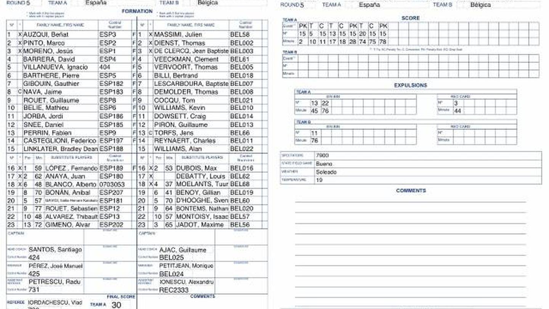 Acta del España-Bélgica jugado en marzo de 2017. El árbitro de ese partido también fue Vlad Iordachescu.