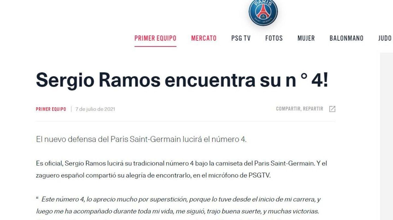 La página oficial del PSG recoge las declaraciones de Sergio Ramos que después borró de la web