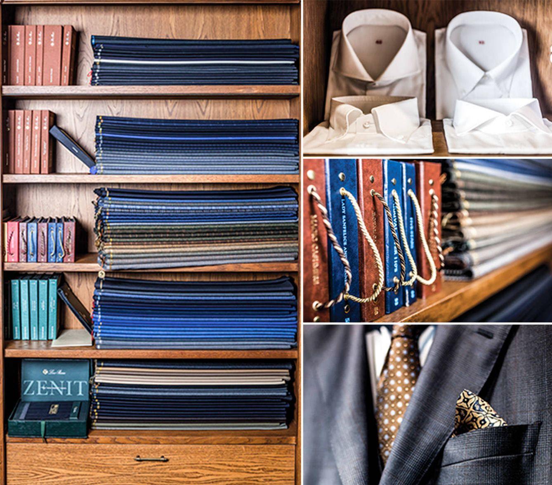 Muestrarios de telas, cuya elección por el cliente supone el primer paso para la elaboración de un traje a medida.