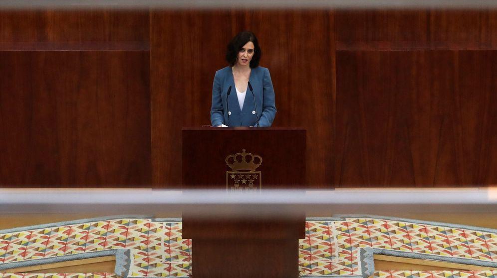 Foto: Isabel Díaz Ayuso, durante su discurso de investidura. (EFE)