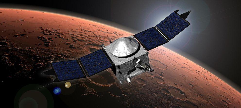 Foto: La misión de la NASA Mars Atmosphere and Volatile Evolution (MAVEN) vista en una ilustración difundida en septiembre (Reuters).