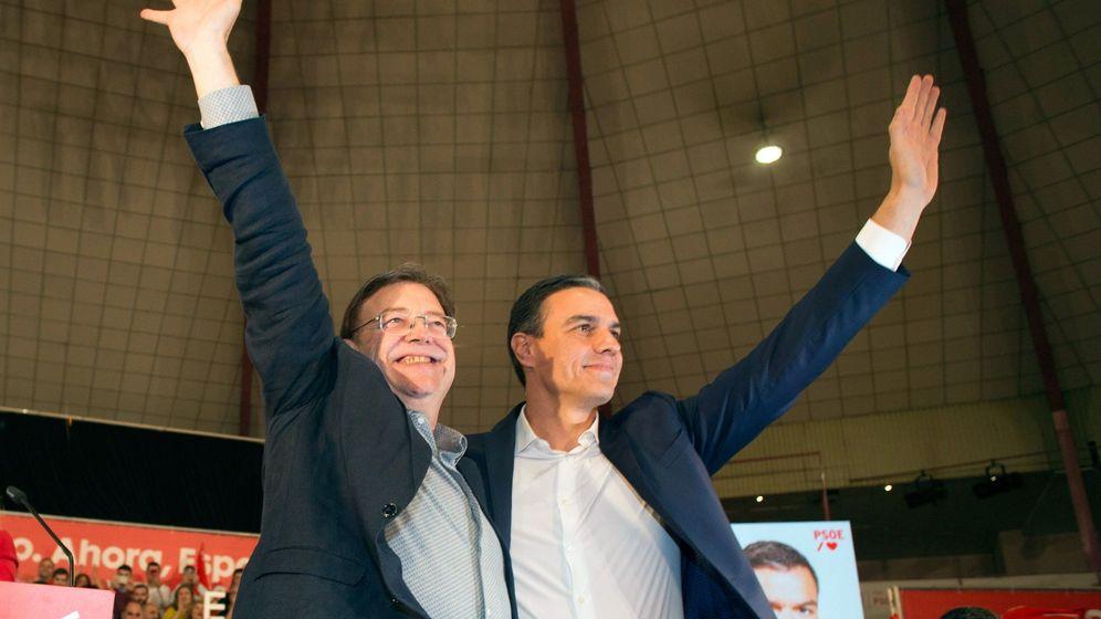 Foto: Ximo Puig y Pedro Sánchez, en un mitin de campaña. (EFE)