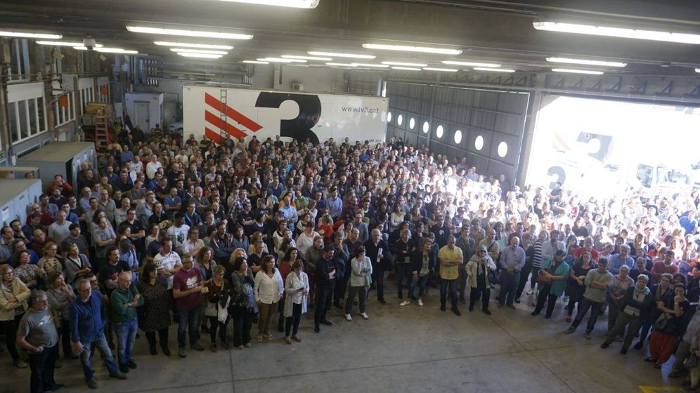 Foto: Asamblea de los trabajadores de TV3. (Twitter: @comitedetv3)