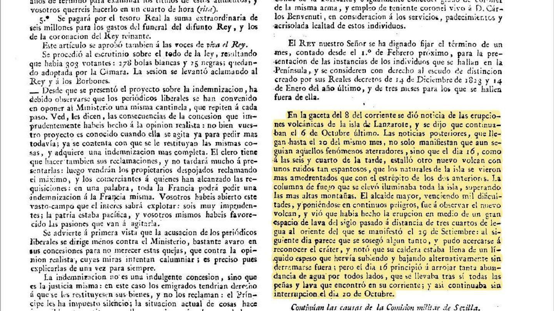 'Gaceta de Madrid' con la información sobre la erupción de Lanzarote y el papel de Ginés.