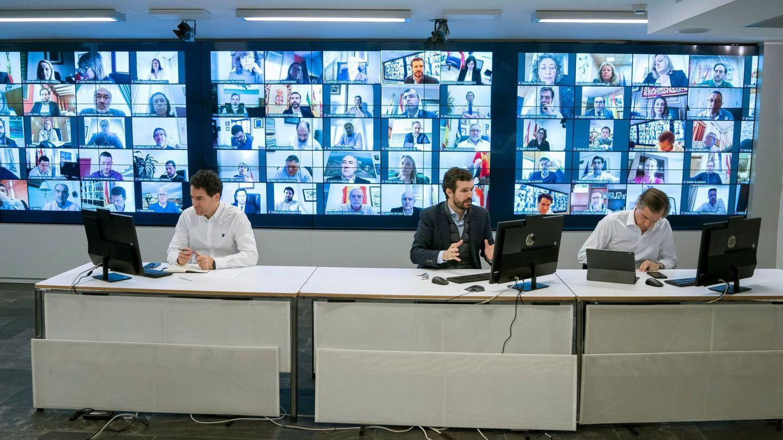 Pablo Casado, Teodoro García Egea y Antonio González. (EFE)