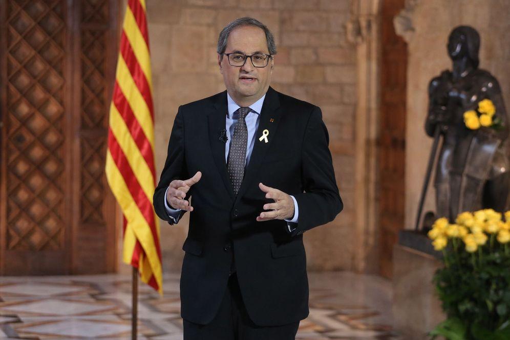 Foto: El 'president' Quim Torra, este pasado 23 de abril durante la declaración institucional por la Diada de Sant Jordi. (EFE)