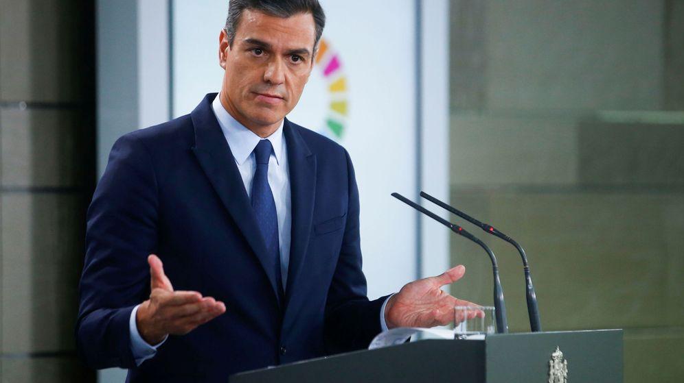 Foto: El presidente del Gobierno en funciones, Pedro Sánchez, en una comparecencia en Moncloa. (EFE)