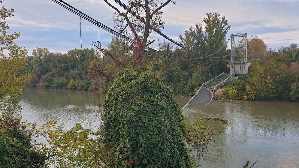 Foto: Puente derrumbado cerca de Toulouse, sobre el río Tarn. (Twitter)