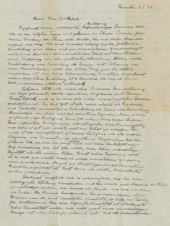 Foto: Carta de Einstein que será subastada.