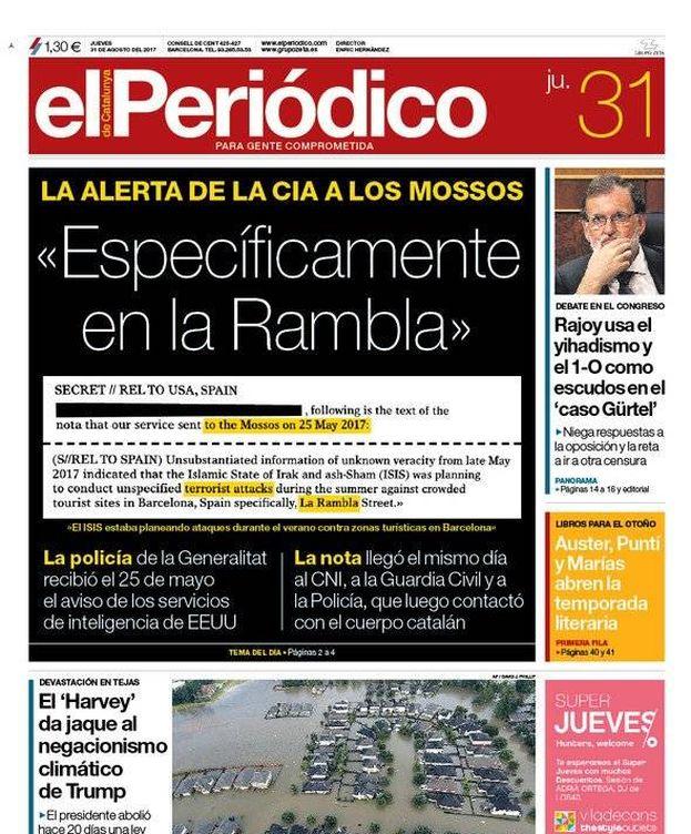 Foto: Portada de 'El Periódico' del jueves 31 de agosto.