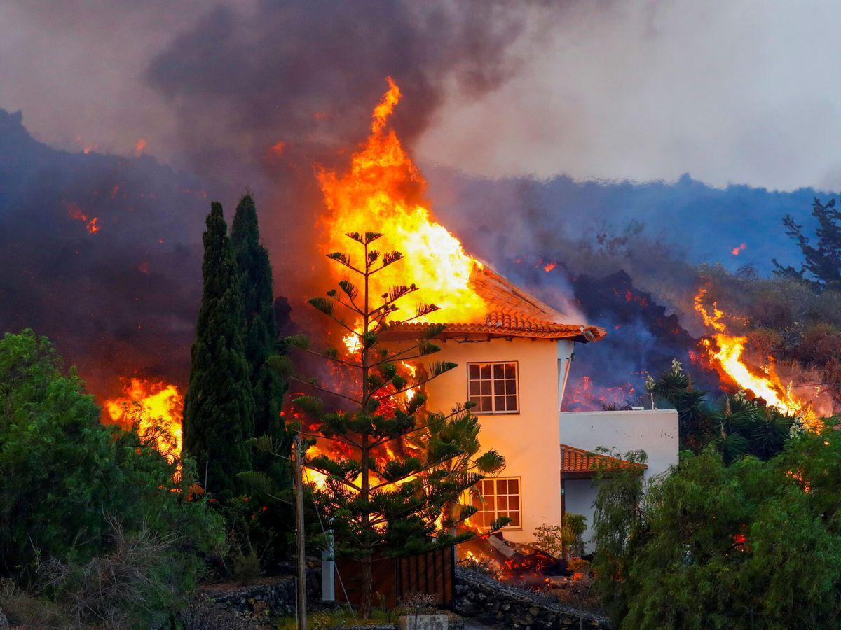 Foto: Una casa arde por la erupción en La Palma. (Reuters)
