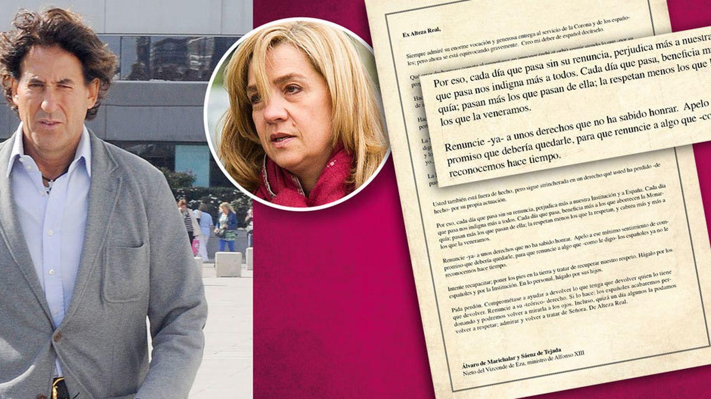 Foto: Álvaro de Marichalar y la carta en la que pide la renuncia de la infanta