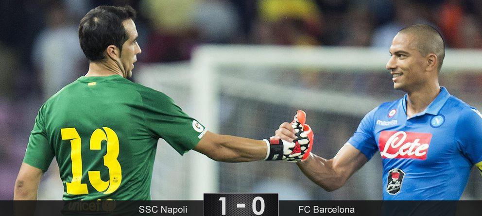 Foto: Claudio Bravo regala la victoria al Napoli en su debut en la portería del Barcelona