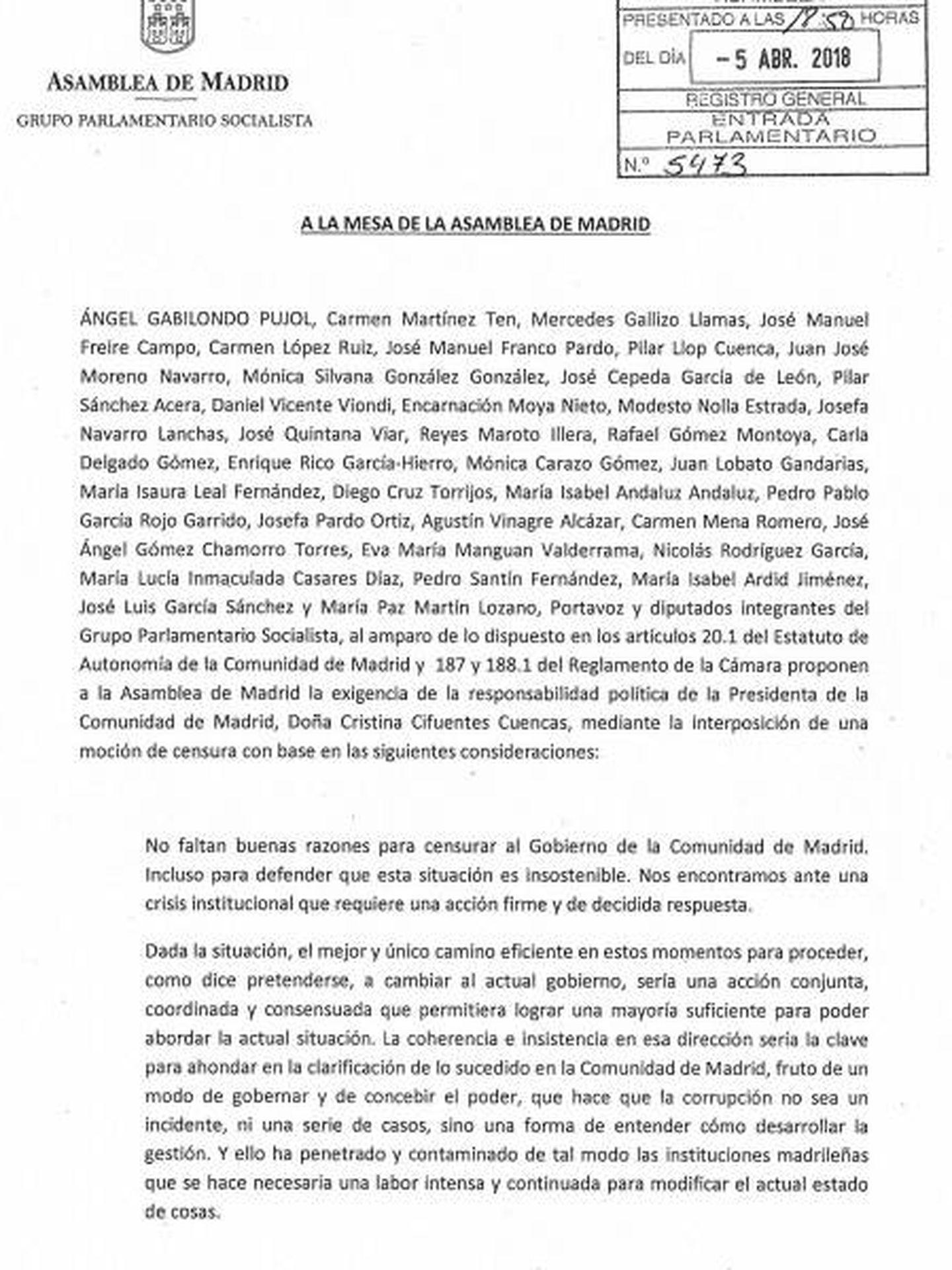 Consulta aquí en PDF el texto de la moción de censura contra Cristina Cifuentes presentada por el PSOE. (EC)