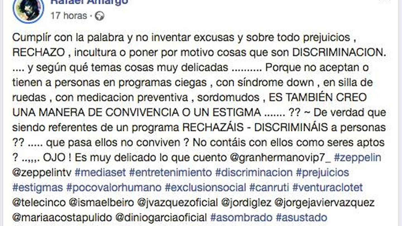 Captura del polémico mensaje de Rafael Amargo. (Facebook)