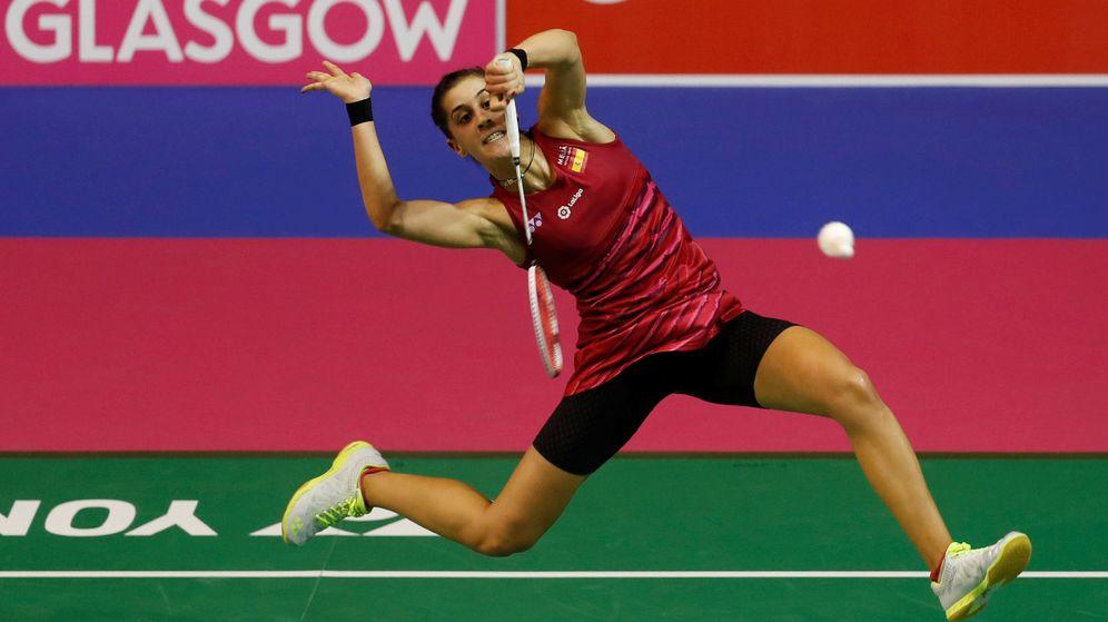 Foto: Carolina Marín, durante el partido de cuartos del Mundial de bádminton disputado en Glasgow (Reuters)