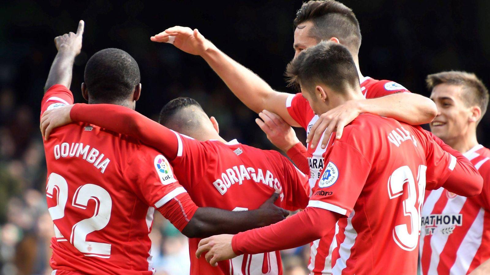 Foto: Jugadores del Girona celebran un gol. (EFE)