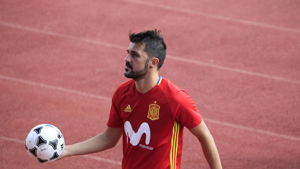 Foto: Villa en un entrenamiento de la selección esta semana en La Rozas. (EFE)