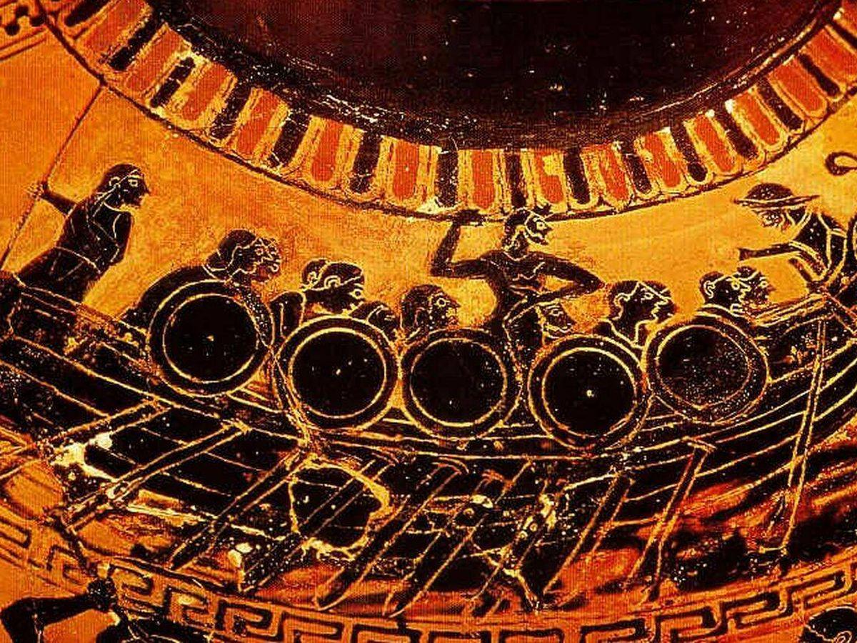Foto: Un trirreme griego dibujado en un ánfora similar al que debió utilizar Pireas.