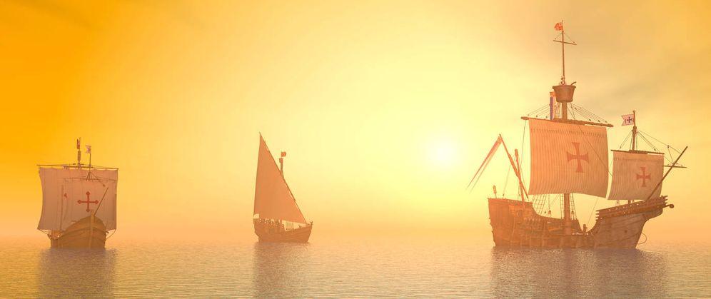 Foto: Recreación de los tres navíos. (iStock)