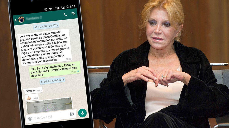 Foto: La baronesa Thyssen en un fotomontaje realizado en 'Vanitatis' junto a un mensaje de Whatsapp