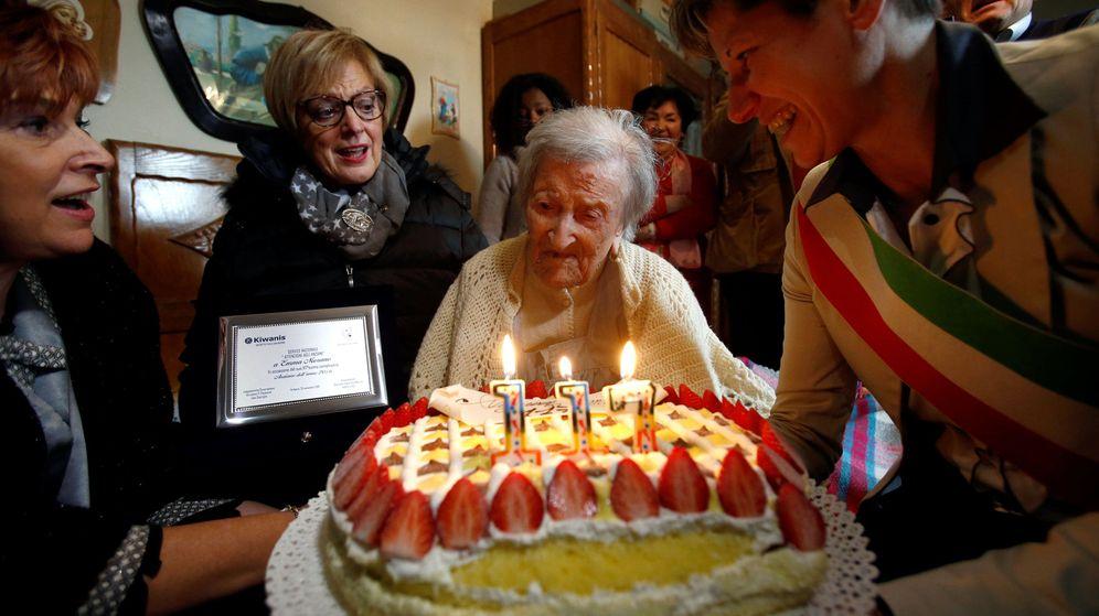 Foto: Emma Morano, celebrando su aniversario en noviembre de 2016. (Reuters)