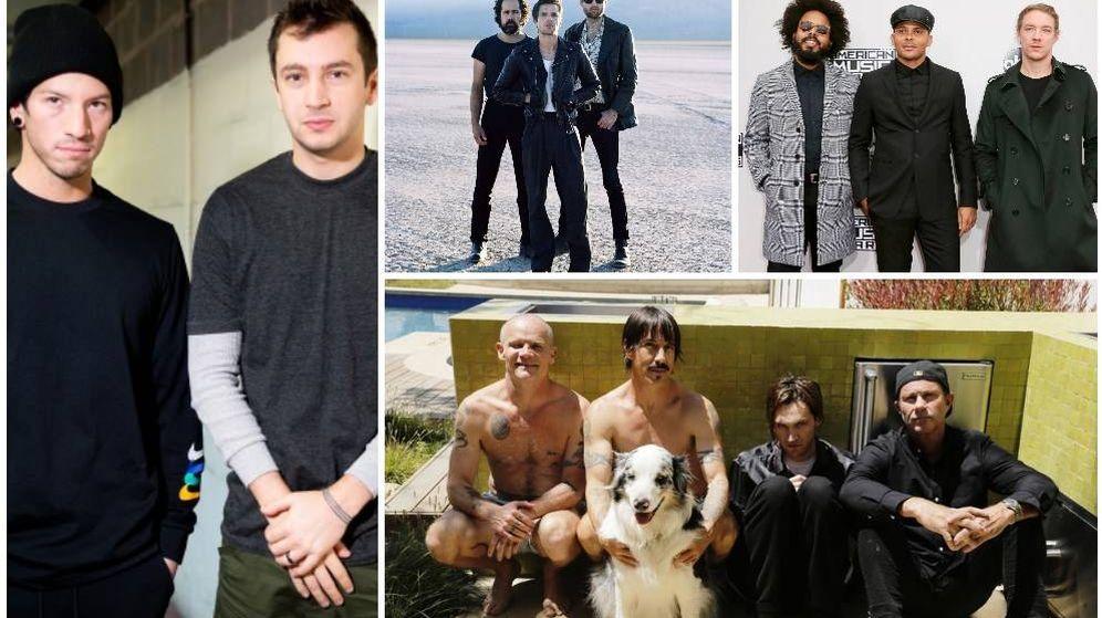 Foto: De izquierda a derecha desde arriba: Twenty One Pilots, The Killers, Major Lazer y Red Hot Chili Peppers. Fotos: Efe/CC