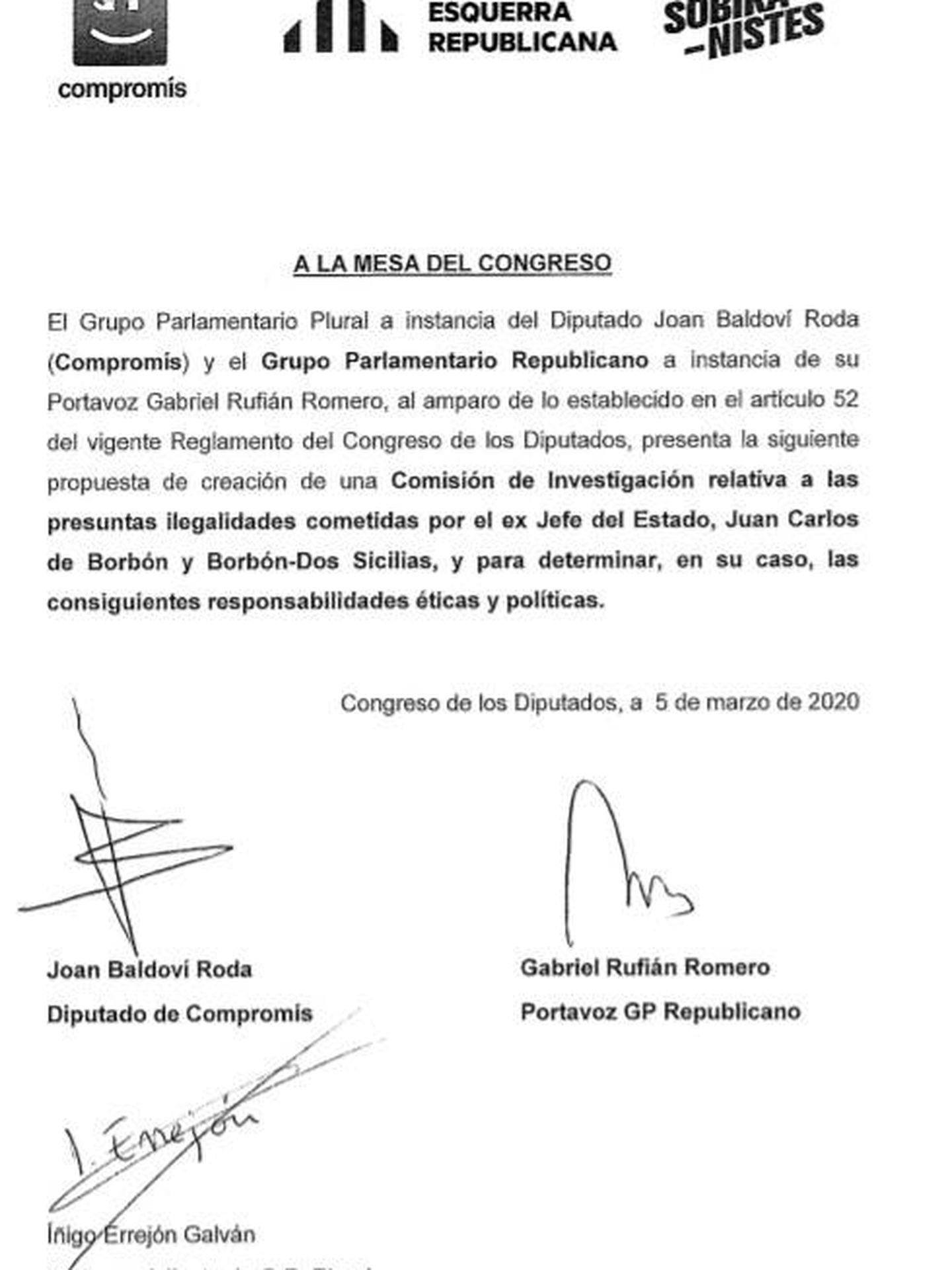 Consulte aquí en PDF la petición de ERC y Compromís de creación de comisión de investigación sobre las presuntas ilegalidades cometidas por el rey Juan Carlos.