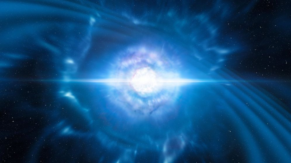 Foto: Imagen virtual que muestra la colisión de dos estrellas de neutrones. Foto:EFE