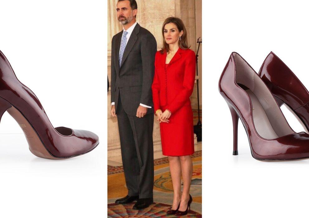 Foto: La Reina Doña Letizia con unos zapatos de la firma española LODI, junto al plano detalle del modelo