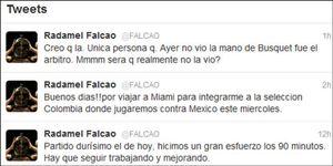 """Falcao, crítico con Pérez Lasa: """"Creo que fue el único que no vio la mano de Busquets"""""""
