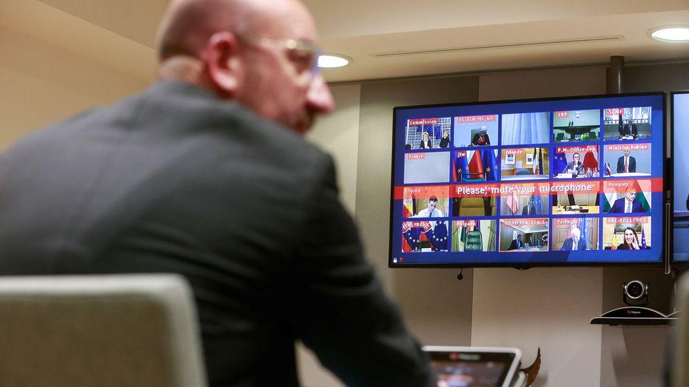 Foto: Videoconferencidlos líderes de la Unión Europea por el coronavirus (Reuters)