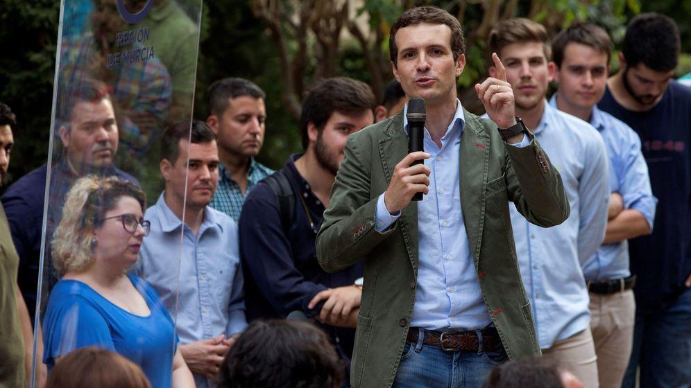 Foto: Pablo Casado esta semana en un encuentro con afiliados en Murcia. (EFE)