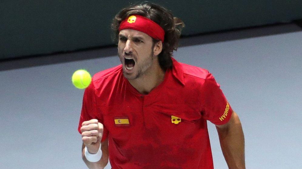 Foto: El tenista español Feliciano López durante la semifinal de la Copa Davis. (Efe)