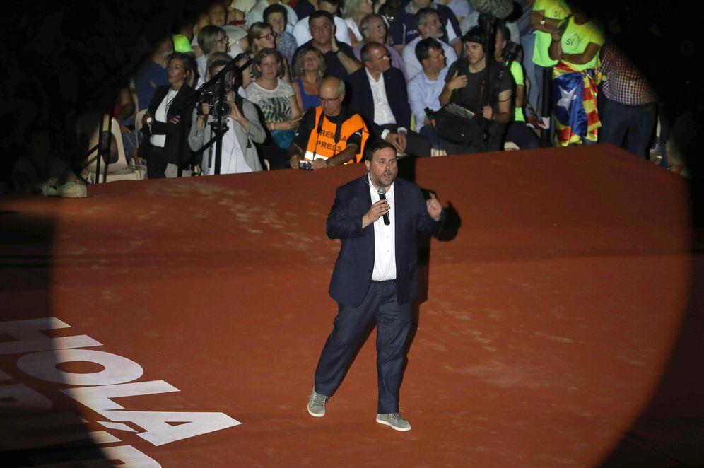 Foto: El vicepresidente económico del Govern, Oriol Junqueras, en el acto unitario del independentismo de Tarragona. (EFE)