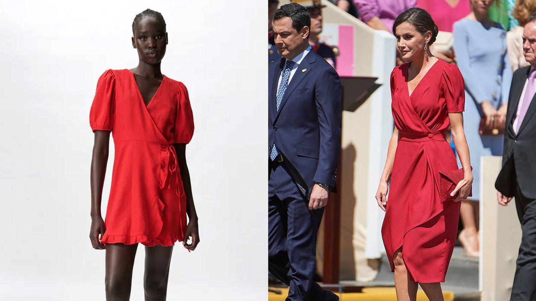 Vestido de Zara / La reina Letizia en Sevilla. (Cortesía / Getty)